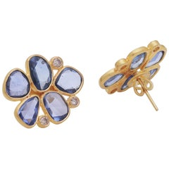 Sapphire Rose Cut and Diamond Earring Pair Handcrafted in 22 Karat Yellow Gold