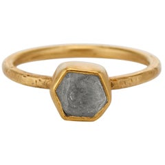 Sapphire Rose Cut Crystal Hexagon Solitaire 20k, 22k Yellow Gold, Sterling Ring