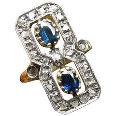 Sapphire Rose Cut Diamond Ring 18 Karat Gold circa 1900 Florentine Victorian