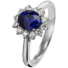 Sapphire Royal Blue Princess Diana Diamond White Gold Ring Style