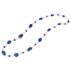 Sapphire, Ruby and Briolette Shaped Diamond Strand Necklace