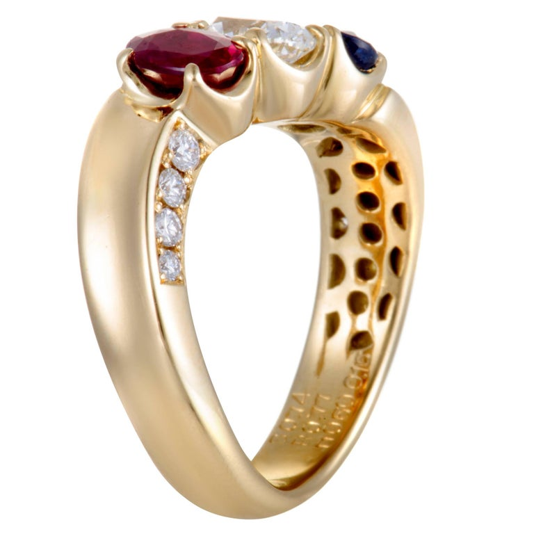 Oval Cut Sapphire Ruby and Diamond Gold Band Ring For Sale