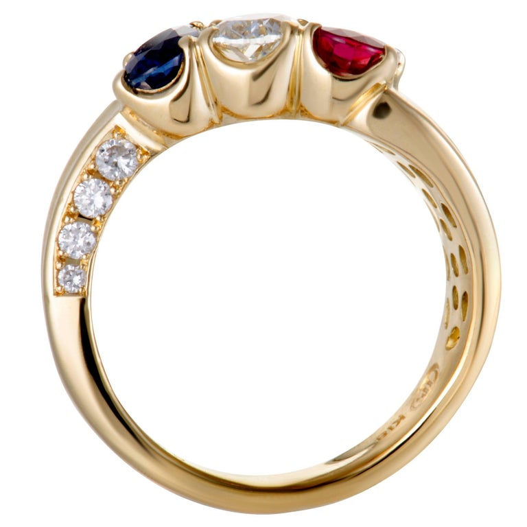 Sapphire Ruby and Diamond Gold Band Ring In Excellent Condition For Sale In Southhampton, PA