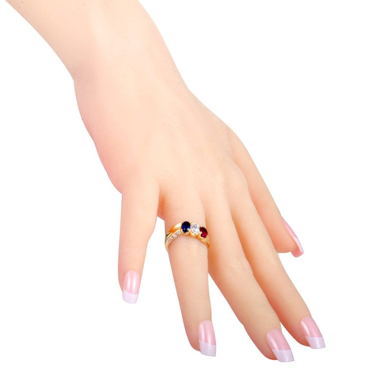 Sapphire Ruby and Diamond Gold Band Ring For Sale 1