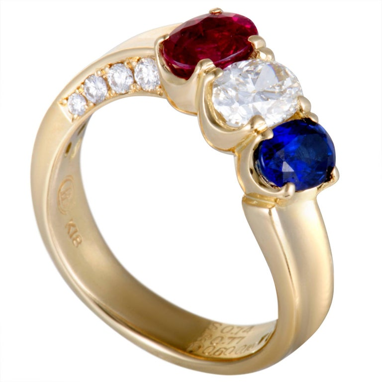 Sapphire Ruby and Diamond Gold Band Ring For Sale