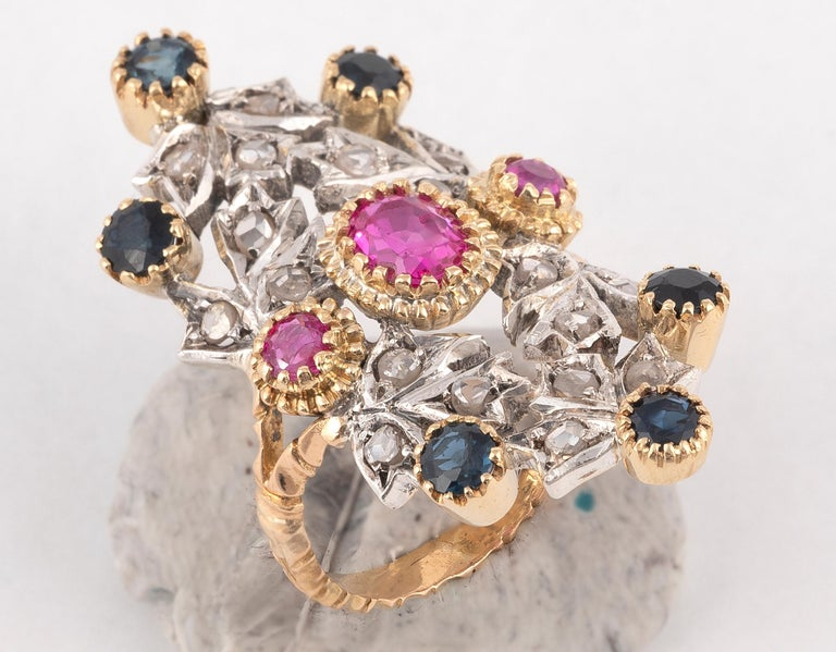 Art Nouveau Sapphire Ruby and Diamond Ring For Sale