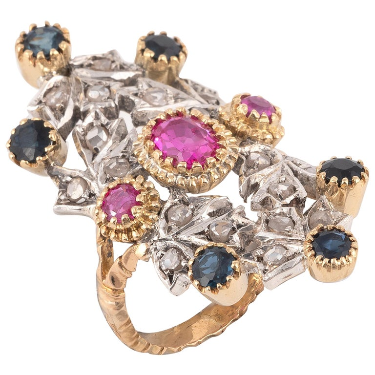 Sapphire Ruby and Diamond Ring For Sale