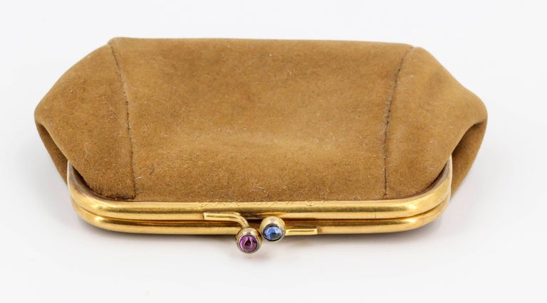 Sapphire, Ruby and Gold Coin Purse In Good Condition For Sale In New York, NY