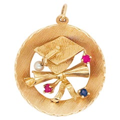Sapphire, Ruby and Pearl Graduation Cap Large Charm or Pendant in 14 Karat Gold