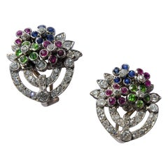Sapphire Ruby Demantoid Garnet Diamond Platinum Giardinetto Flower Vase Earrings