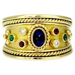 Sapphire, Ruby, Diamond and Emerald Tapered Templar Ring in 18 Carat Yellow Gold