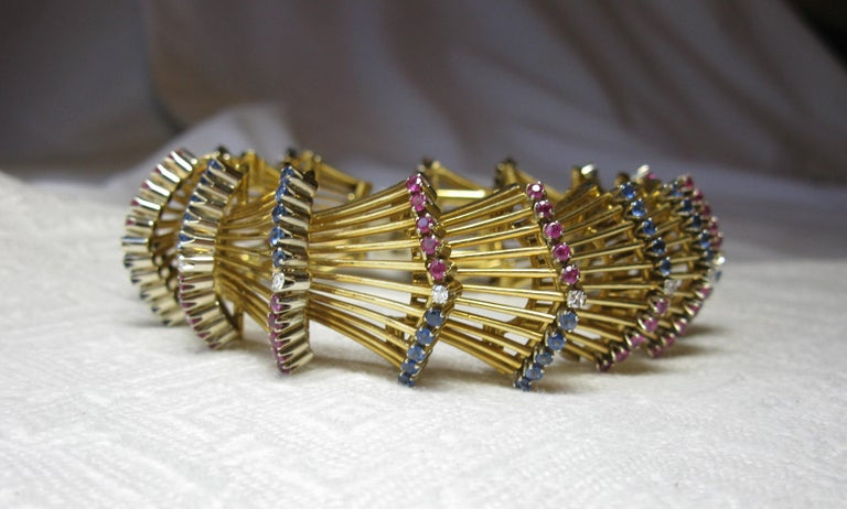 Women's Sapphire Ruby Diamond Bracelet 18 Karat Gold Art Deco Mid-Century Modern For Sale