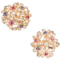 Sapphire Ruby Diamond Gold En Tremblant Clip Post Gold Flower Earrings