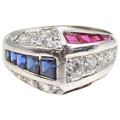 Sapphire Ruby Diamond Platinum Ring