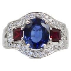 Sapphire Ruby Diamond Ring 14 Karat White Gold