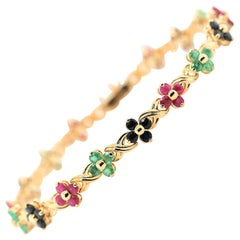 Sapphire Ruby Emerald 14 Karat Yellow Gold Flowers Link Bracelet