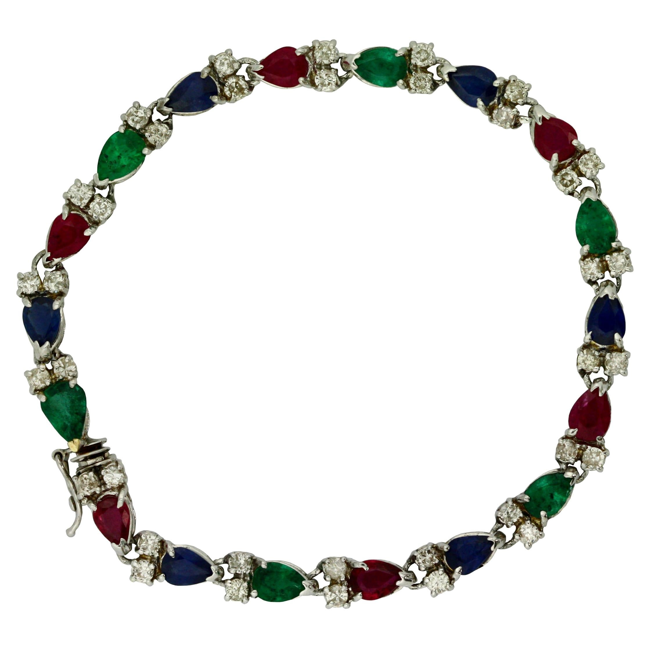 Sapphire, Ruby, Emerald and Diamond Bracelet