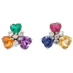 Sapphire Ruby Emerald and Diamond Multicolored Stud Earrings