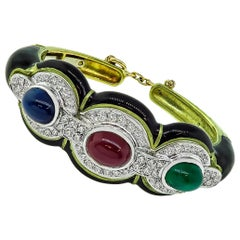 Sapphire Ruby Emerald Diamond Enamel Gold Bangle