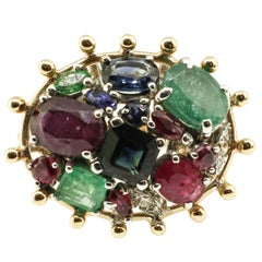 Sapphire Ruby Emerald Diamond Gold Cluster Ring