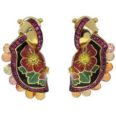 Sapphire Ruby Enamel A'la Russe Small Earrings