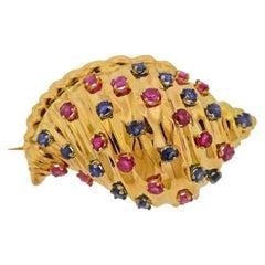 Sapphire Ruby Gold Seashell Motif Brooch Pin
