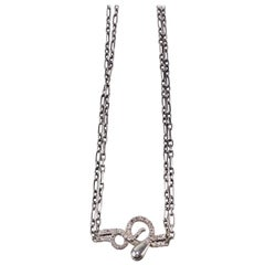 Sapphire Ruby Snake Necklace Choker Chain Silver Victorian Style J Dauphin