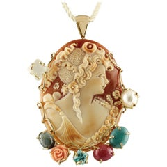 Sapphire Ruby Tourquoise Paste Blue Topaz MoonStone Coral Pearl Cameo Pendant