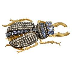 Sapphire Scarab Pendant Brooch 18K