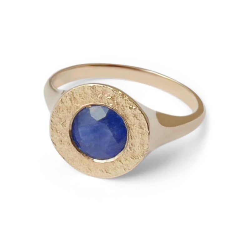 Women's or Men's Sapphire Signet Ring in 14 Karat Gold by Allison Bryan For Sale