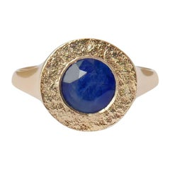 Sapphire Signet Ring in 14 Karat Gold by Allison Bryan