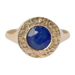 Sapphire Signet Ring in 14 Karat Gold by Allison Bryan