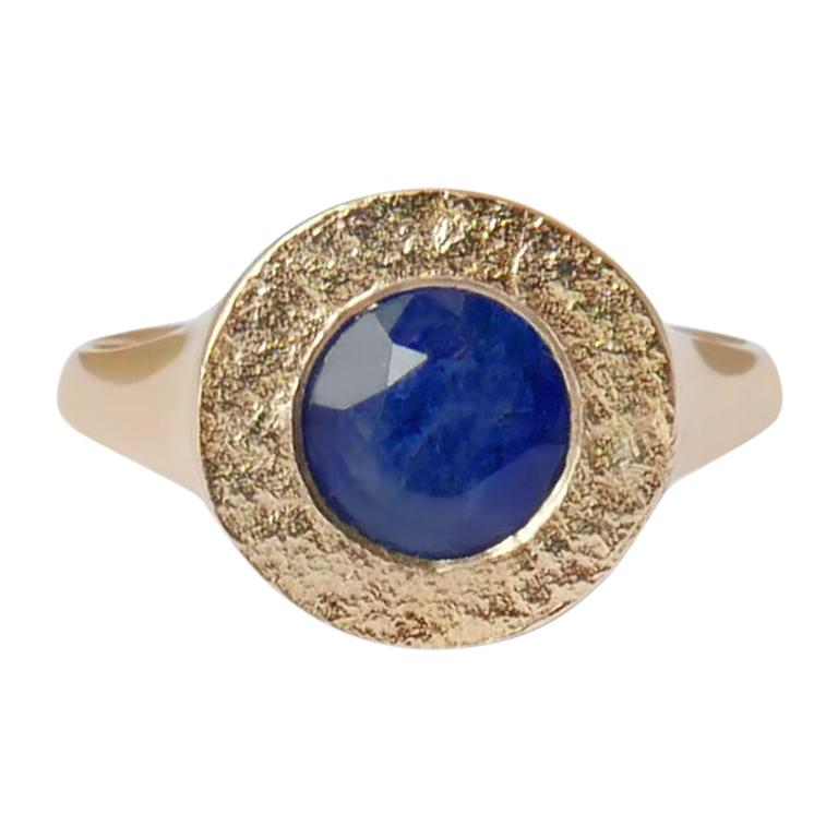 Sapphire Signet Ring in 14 Karat Gold by Allison Bryan For Sale