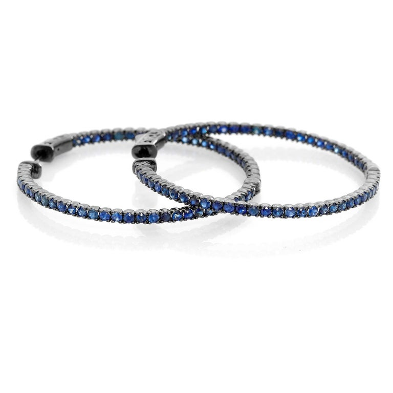 Sapphire Silver Inside Out Hoops In New Condition For Sale In Dallas, TX