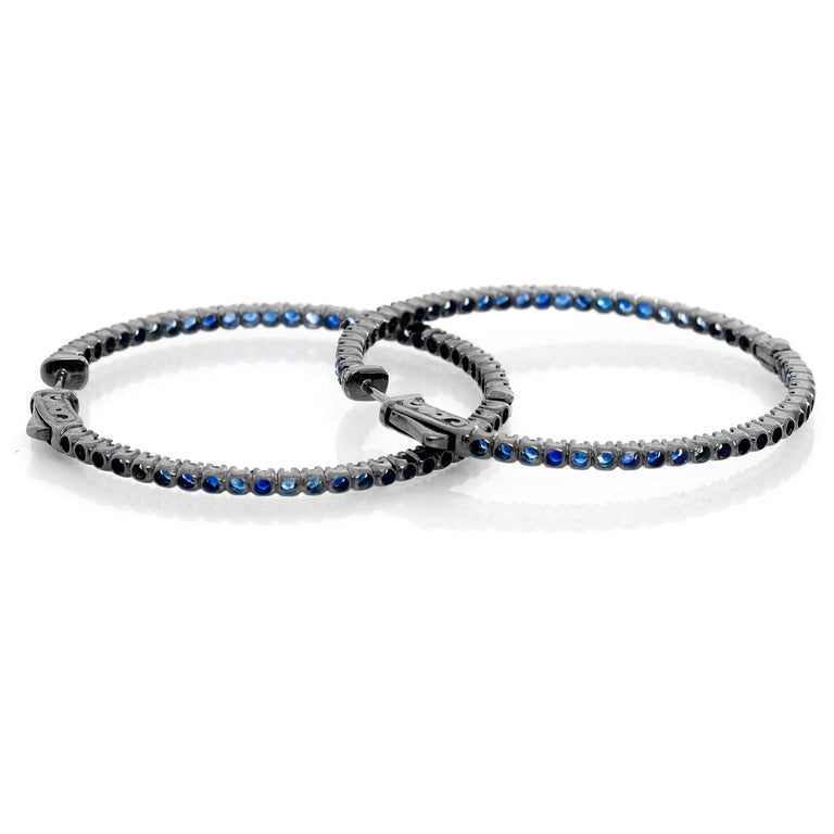 Women's Sapphire Silver Inside Out Hoops For Sale