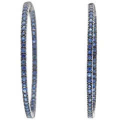 Sapphire Silver Inside Out Hoops