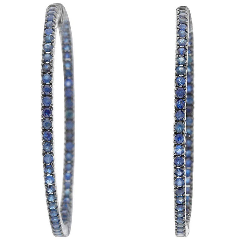 Sapphire Silver Inside Out Hoops For Sale