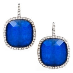 Sapphire Sliced Cushion Shaped Earrings 18 Karat White Gold Italian Made