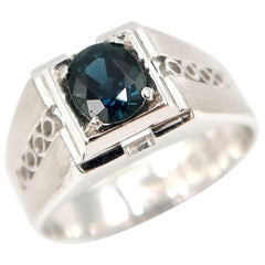 Sapphire Solitaire Brushed Platinum Men's Ring