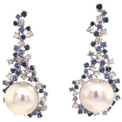 Sapphire South Sea Pearl Drop Earrings 3.40 Carat 18 Karat White Gold