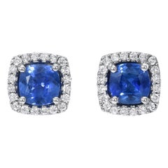 Sapphire Stud Earrings Cushion Cut 1.96 Carats Total
