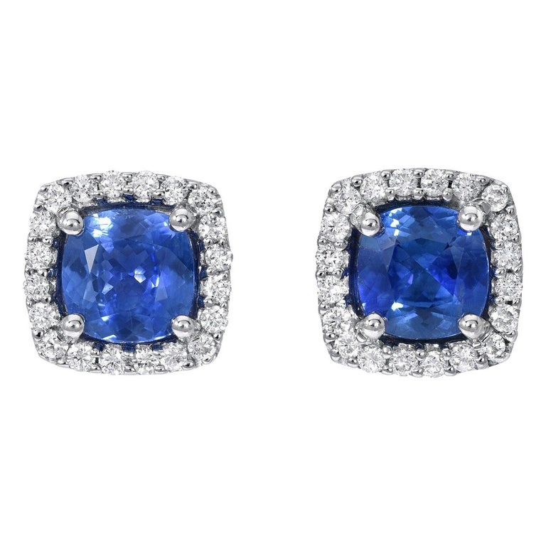 Sapphire Stud Earrings Cushion Cut 1.96 Carats Total For Sale