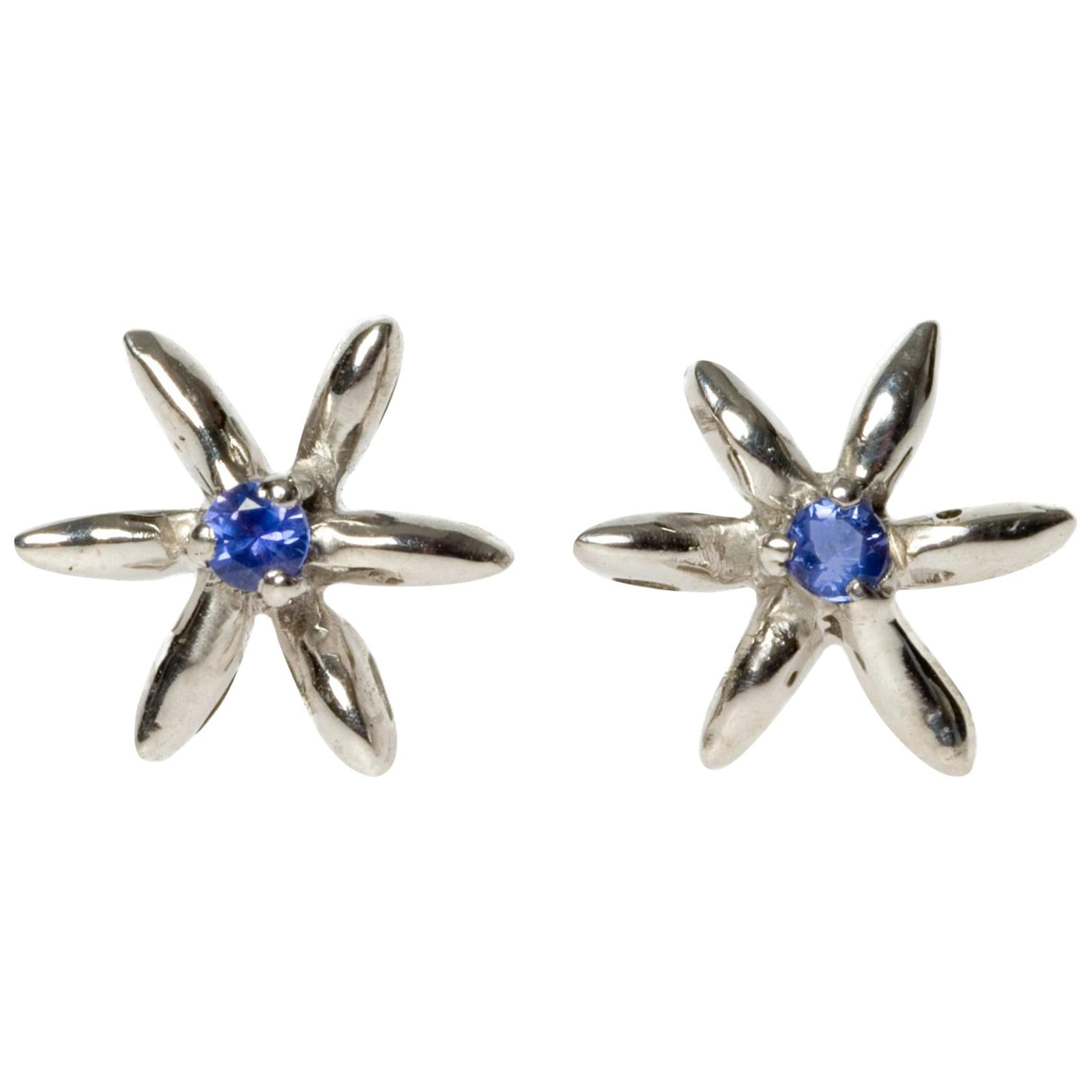 Sapphire Stud Earrings in 18 Karat White Gold Made in Italy Can Be Custom Made