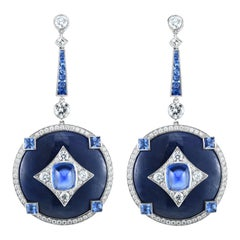 Sapphire, Tanzanite and Diamond, Platinum Dangle Earrings