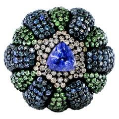 Sapphire, Tanzanite, Tsavorite and Diamond Ring