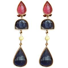 Sapphire Tourmaline 18 Karat Solid Gold Earrings