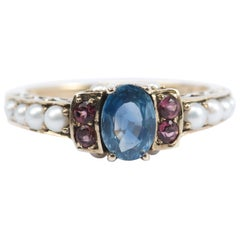 Sapphire, Tourmaline and Cultured Pearl Ring