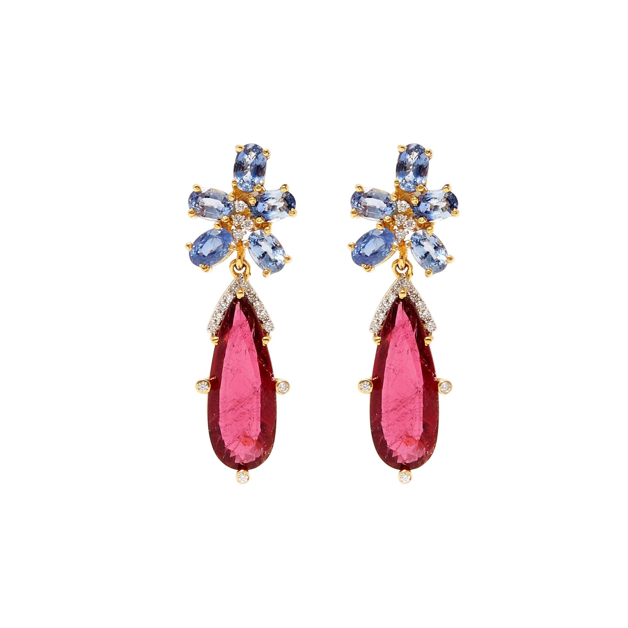 Sapphire Tourmaline and Diamond Drop Earrings