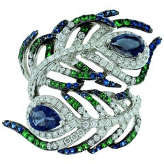 Sapphire Tsavorite and Diamond Peacock Ring