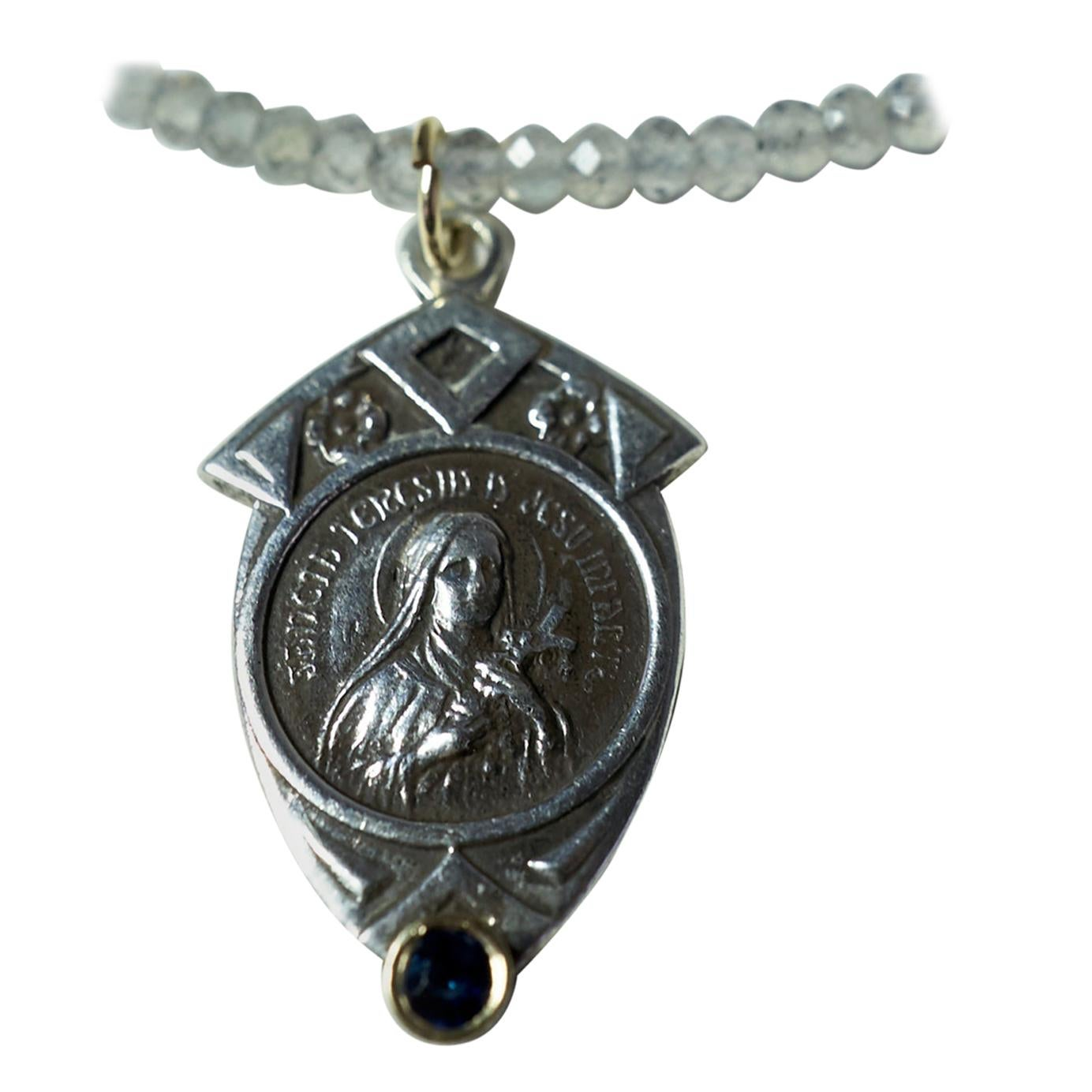 Sapphire Virgin Mary Medal Coin Pendant Labradorite Chain Necklace J Dauphin